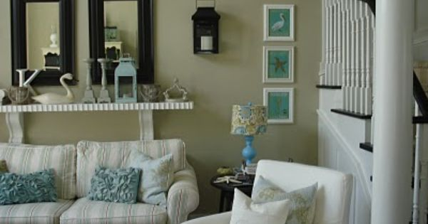 Neutrals Tan White Black Cream Cottage Living RoomsBlue