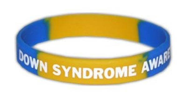 2 59 This Down Syndrome Awareness Bracelet Uses The Recognizable Blue And Yellow Colors And Is Imprin Down Syndrome Awareness Down Syndrome Awareness Bracelet