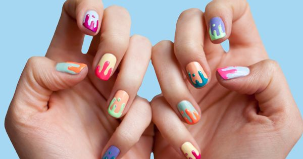 Colorful nails | colourful nails | paint drips nail art