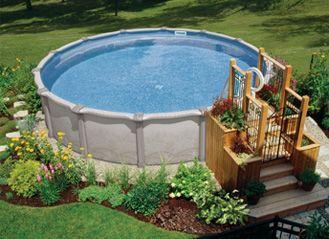 Mission Castella Round Pool Landscape Design Above Ground Pool Landscaping Backyard Pool Landscaping