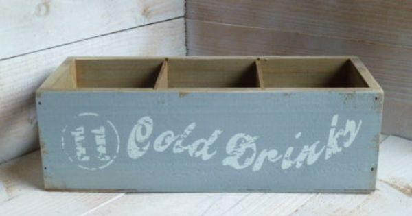 Holz Flaschen-Korb Tablett Getränkekiste Blau Grau Flaschen-Kiste Shabby Vintage