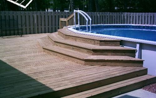 could we surround this deck with a rail and steps for safety this way we dont have a deck so high in the air just the smaller area of steps to
