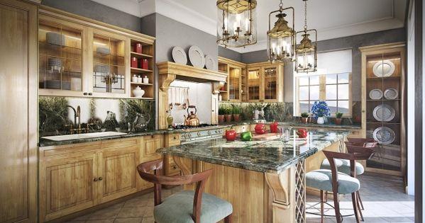 Wohnideen Küche Französisch Landhaus Stil Eiche Holz Granit