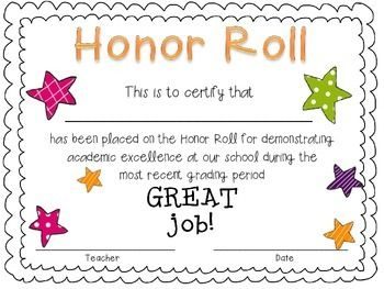 Free Primary Honor Roll Certificate Honor Roll School