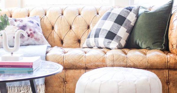 Leather Tufted Sofa Moroccan Rug White Ottoman Buffalo