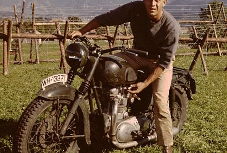 Steve McQueen in The Great Escape. They dressed up a Triumph to