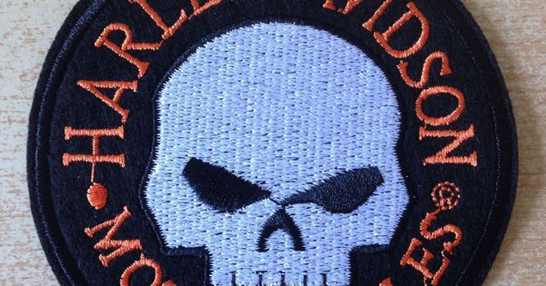 cusson patch harley davidson hd t te de mort skull head diameter 9 cm harley patch. Black Bedroom Furniture Sets. Home Design Ideas