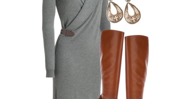 Grey dress, brown boots