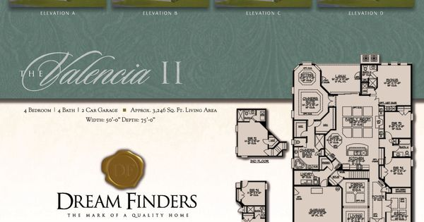 Dream finders homes valencia ii model floor plan elevation d dream finders builders model - Dream home floor plan model ...
