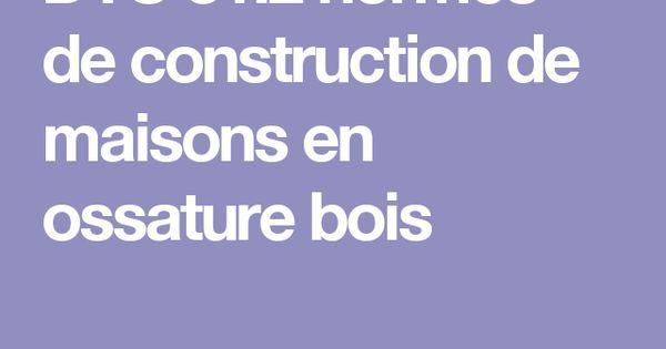 DTU 312 normes de construction de maisons en ossature bois