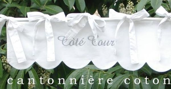 Cantonni re festonn e brodee en coton blanc cantonni res - Rideau coton blanc brode ...