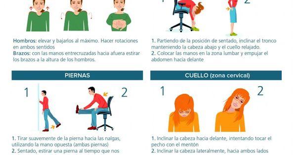 Infograf a para aprender a realizar estiramientos en la for Estiramientos oficina