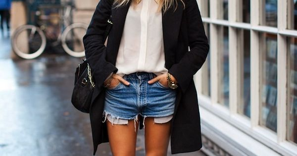 white shirt + distressed jeans short
