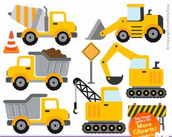 Construction Trucks Clipart Printable Instant Download Png Files Truck Clipart Truck Png C Construction Theme Party Construction Theme Construction Party