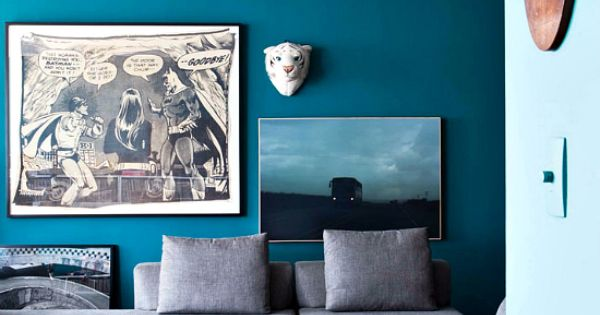 Love That Dark Teal With A Grey Couch Accent Wall