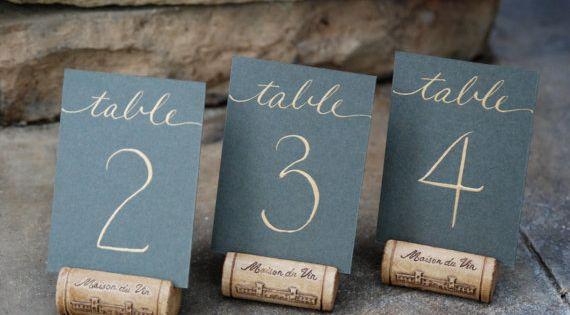 Single Wine Cork Place Card Holders or by KarasVineyardWedding