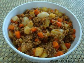 Giniling Picadillo 1 Lb Ground Beef Giniling Na Baka 3 Pieces Garlic Minced Frozen Mixed Veggie Easy Filipino Recipes Pork Giniling Recipe Giniling Recipe