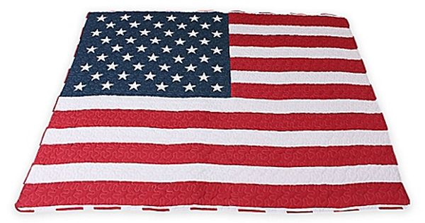 Thro American Flag Quilted Throw Blanket In Red White Blue