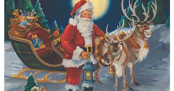 Santa With Lantern By Susan Comish Poster Prints Christmas Art Christmas Artwork