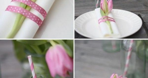 tischdeko mit tulpen servietten falten rosa tulpe. Black Bedroom Furniture Sets. Home Design Ideas