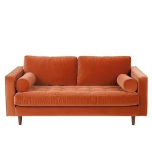 Oranje Leren Bankstel.Scott Large 2 Seater Sofa Burnt Orange Cotton Velvet Leren Bank