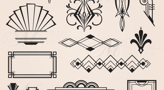 Digital Clipart ART DECO Design Elements Frames / Borders ...