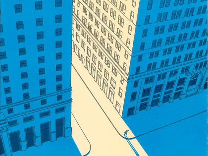 French illustrator Guy Billout. Love the true morning blue of the shadows