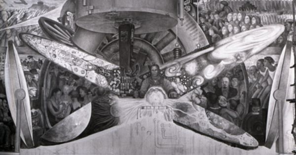 Diego rivera 1886 1957 man at the crossroads looking with for Diego rivera mural new york