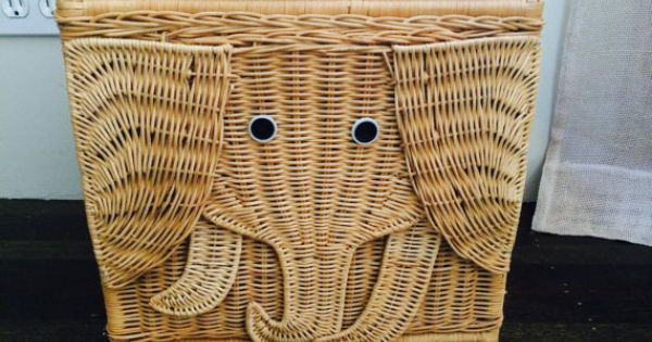 Vintage Rattan Wicker Elephant Basket Boho Children 39 S