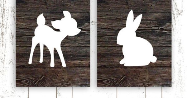 Deer and Bunny Nursery Art Prints, Set of Two 8x10 Inch Nursery