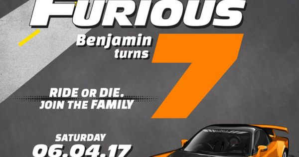 Race Car Fast And Furious Birthday Invitation Boy