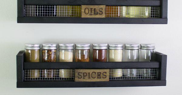 diy rustic wall mounted spice rack ikea k kken indretningsideer og ikea. Black Bedroom Furniture Sets. Home Design Ideas
