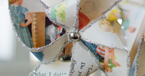 #Glittered Pinwheel made from vintage book pages. Awesome tutorial from miss mustard