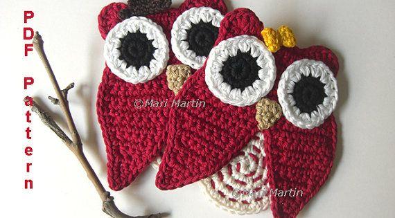 Owl christmas decoration pattern crochet coaster owl the happy pair home decor nursery tutorial Crochet home decor on pinterest