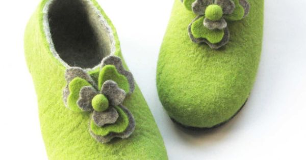 These Beautiful Three Leaf Clover Felted Slippers Womens