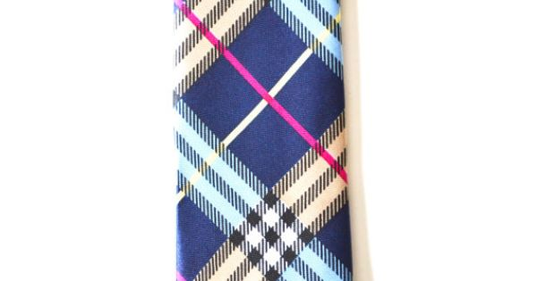Mens Tie Multi Color Blue Modern Tartan Pattern by TiestheKnot, $8.99