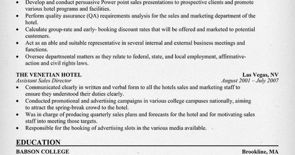 hotel director of sales resume  resumecompanion com   travel