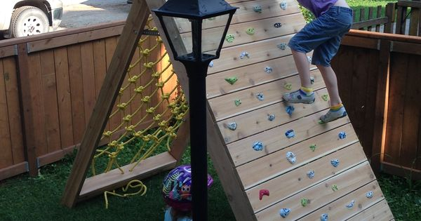do it yourself kid 39 s climbing wall with rock wall and cargo net complete step by step. Black Bedroom Furniture Sets. Home Design Ideas