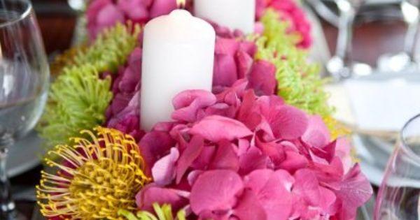 Modern Green Pink Yellow Centerpiece Spring Summer Wedding Flowers