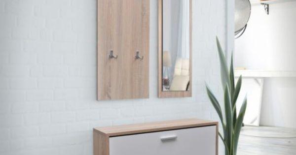 Set 3 en 1 zapatero de madera color roble y blanco espejo for Zapatero color roble