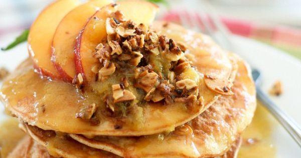 Peach Cobbler Coconut Pancakes | Breakfast | Pinterest | Coconut ...