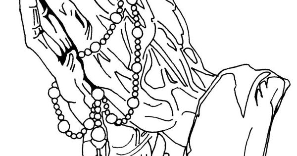 hands praying to god with rosary and cross of jesus christ crucifixion coloring page heime
