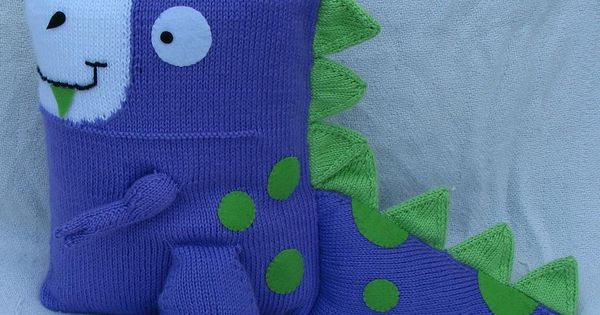 Knitted Dinosaur Pillow - Purple and Lime Green. USD90.00, via Etsy. Christma...