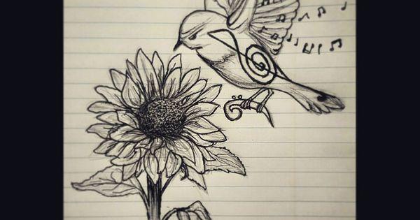 Music bird and sunflower pen drawing tattoo design idea