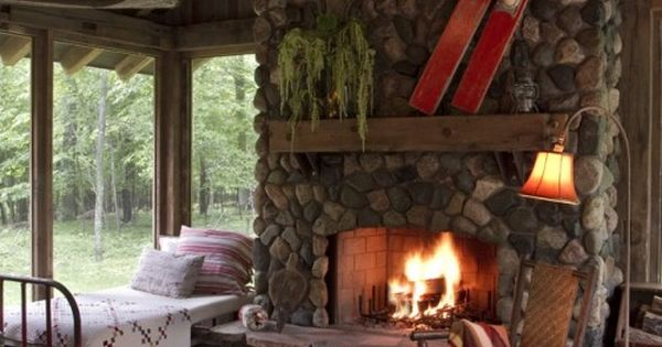 screened porch with bed and fireplace i can use this idea for