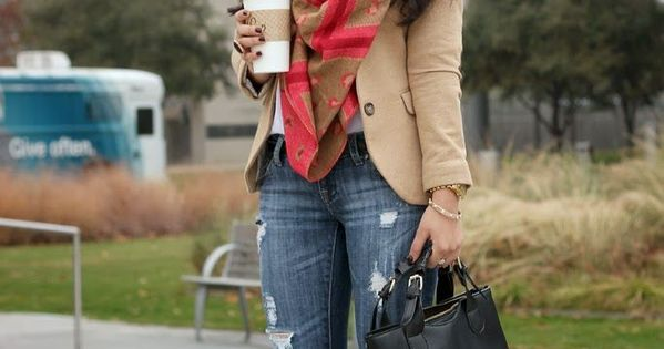 Perfect fall outfit! Distressed jeans cuffed, camel color blazer with scarf Women's fall fashion clothing outfit for shopping lunch dates movie