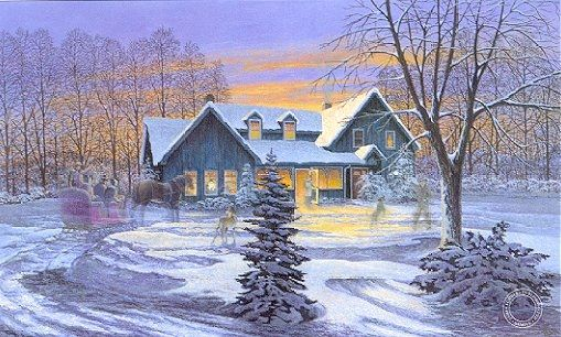 Coming Home James Lumbers I Love This One Winter Scene Paintings Winter Artwork Winter Christmas Scenes