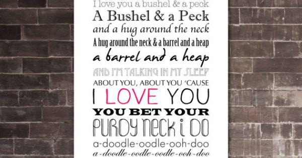 Bushel And A Peck Printable Lyrics Artwork Black Amp Pink