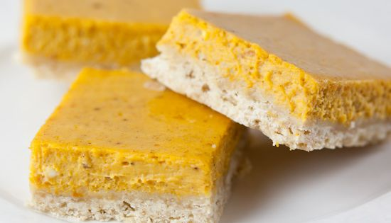 Pumpkin Cheesecake Bars with Brown Sugar Shortbread Crust. Yes it's the middle