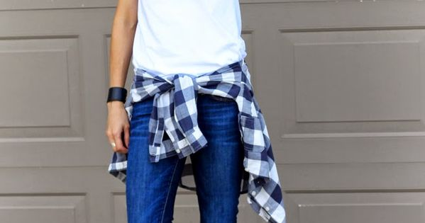 Supper cutie outfit!!! •white V neck •plaid shirt •navy blue jeans •white